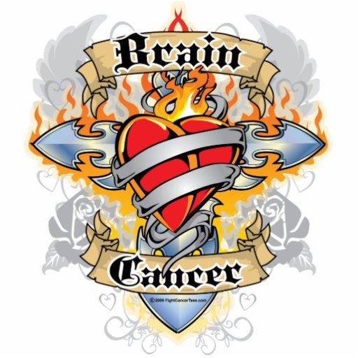 Cruz y corazón del cáncer de cerebro fotoescultura vertical