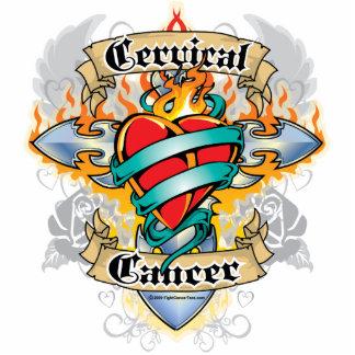 Cruz y corazón del cáncer de cuello del útero fotoescultura vertical