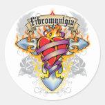 Cruz y corazón del Fibromyalgia Pegatina Redonda