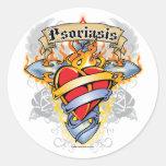 Cruz y corazón del psoriasis pegatina redonda