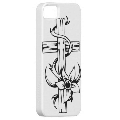 Cruz y diseño floral iPhone 5 Case-Mate fundas