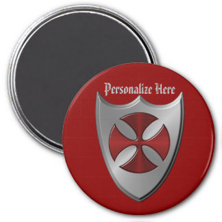 Cruz y escudo de Templar de los caballeros Imán Redondo 7 Cm