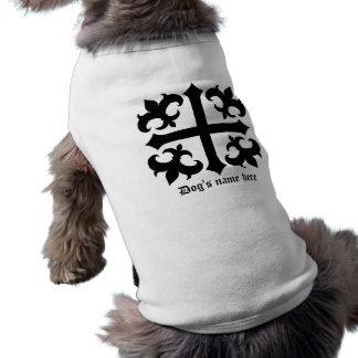 Cruz y flor de lis simbólicas reales medievales playera sin mangas para perro