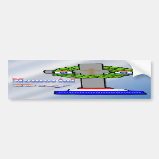 Cruz y guirnalda - pegatina para el parachoques de pegatina de parachoque