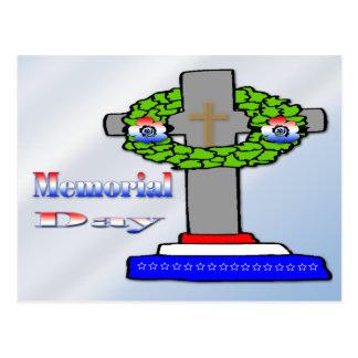 Cruz y guirnalda - postal del Memorial Day