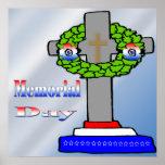 Cruz y guirnalda - poster del Memorial Day