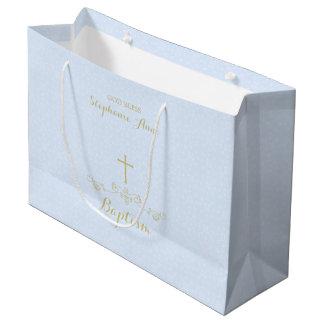Cruz y laureles del oro en azul claro bolsa de regalo grande