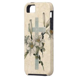 Cruz y lirios cristianos del vintage iPhone 5 carcasa