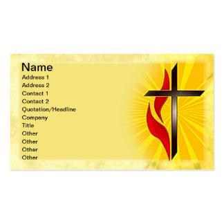 Cruz y llama tarjetas de visita