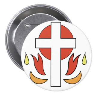 Cruz y llamas de la confirmación chapa redonda 7 cm