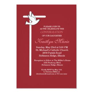Cruz y paloma blancas de la invitación de la