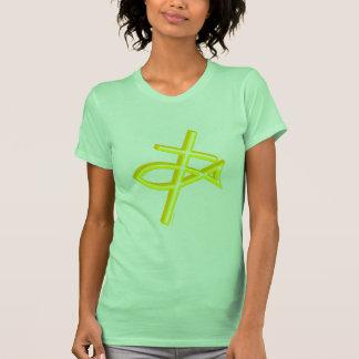Cruz y pescados cristianos camisetas