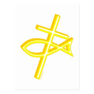 Cruz y pescados cristianos postal