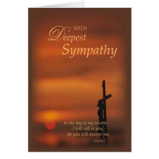 Cruz y puesta del sol religiosas de la condolencia tarjeta de felicitación