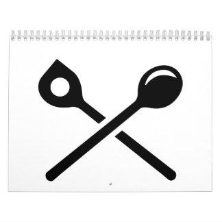 Cruzado cocinando las cucharas calendarios de pared