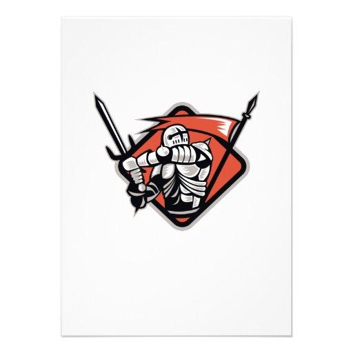 Cruzado del caballero con la bandera de la espada  invitacion personalizada