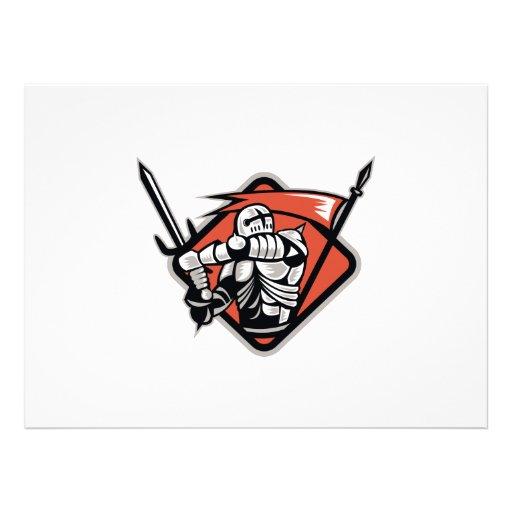 Cruzado del caballero con la bandera de la espada  comunicados personales