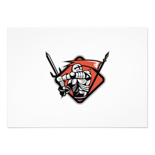 Cruzado del caballero con la bandera de la espada  comunicados