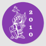 cruzado púrpura, pequeño 2010 pegatina redonda