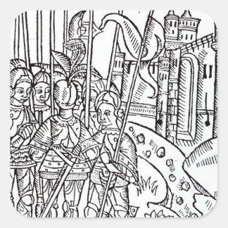 Cruzados, impresos por Wynkyn de Worde Pegatina Cuadrada