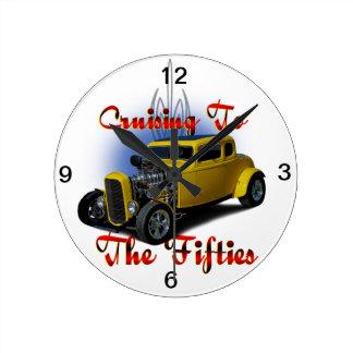 Cruzando los años 50 reloj redondo mediano