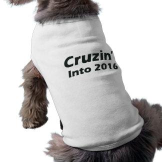 Cruzin' into 2016 - Black and White Dog Tshirt