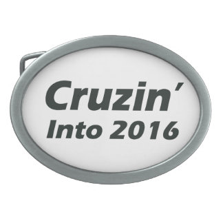 Cruzin' into 2016 - Black and White Oval Belt Buckle