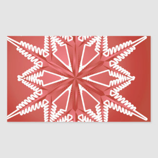 CRWSF CHERRY RED WINTER SNOWFLAKE WINTER BACKGROUN RECTANGULAR STICKER