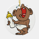 cry baby bottle Double-Sided ceramic round christmas ornament
