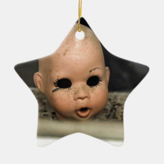 Cry Baby Vintage Doll Head Dirty Window Double-Sided Star Ceramic Christmas Ornament
