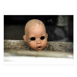 Cry Baby Vintage Doll Head Dirty Window Postcard