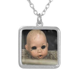 Cry Baby Vintage Doll Head Dirty Window Silver Plated Necklace