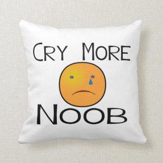 Cry More Noob Throw Pillow