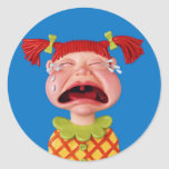Cryin Girl Classic Round Sticker
