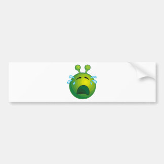 Crying alien car bumper sticker