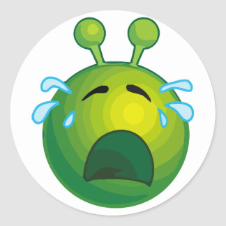 Crying alien classic round sticker