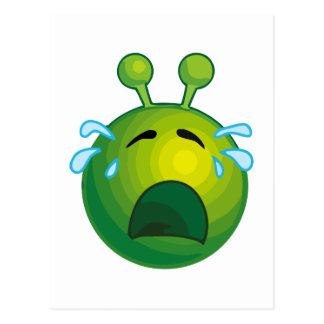 Crying alien postcard