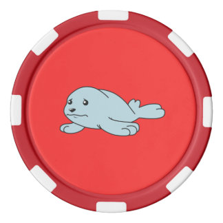 Crying Aqua Blue Sea Lion Seal Pup Greeting Cards Poker Chips