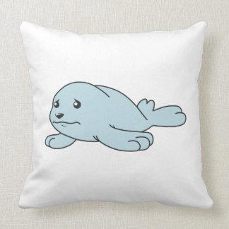 Crying Aqua Blue Sea Lion Seal Pup Greeting Cards Throw Pillow