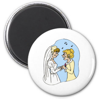 Crying Brides Exchanging Vows Refrigerator Magnet