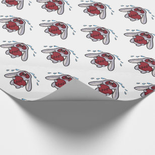 Crying Bunny Rabbit with Broken Heart Pattern Wrapping Paper