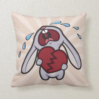 Crying Bunny Rabbit with Broken Heart Throw Pillow