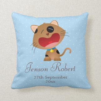Crying Cartoon Kitten New Baby Boy Pillow