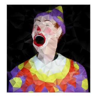Crying Clown - Poster On canvas