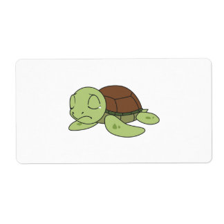 Crying Cute Baby Turtle Tortoise Greeting Card Label