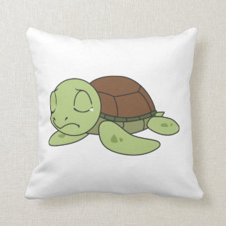 Crying Cute Baby Turtle Tortoise Greeting Card Pillow