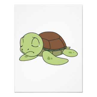 """Crying Cute Baby Turtle Tortoise Invitation Stamps 4.25"""" X 5.5"""" Invitation Card"""