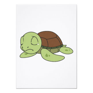 """Crying Cute Baby Turtle Tortoise Invitation Stamps 4.5"""" X 6.25"""" Invitation Card"""