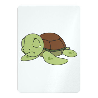 """Crying Cute Baby Turtle Tortoise Invitation Stamps 5"""" X 7"""" Invitation Card"""
