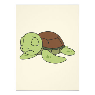 """Crying Cute Baby Turtle Tortoise Invitation Stamps 5.5"""" X 7.5"""" Invitation Card"""